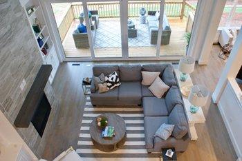 interior living space of Peachtree Residential model home at McLean in Lake Wylie, SC
