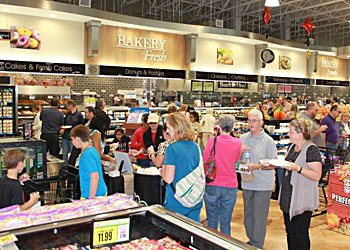 Opening-day shoppers at the new Belmont Harris Teeter