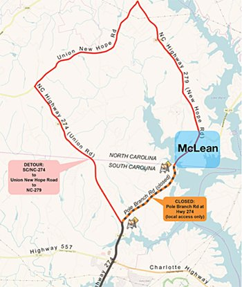 Pole Branch Road detour map