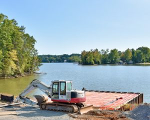Foundations and parking areas take shape along Lake Wylie near the South New Hope Road bridge